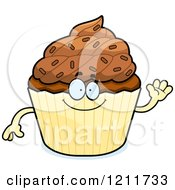 Cartoon Of A Waving Chocolate Sprinkled Cupcake Mascot Royalty Free Vector Clipart by Cory Thoman