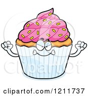Cartoon Of A Mad Sprinkled Cupcake Mascot Royalty Free Vector Clipart by Cory Thoman