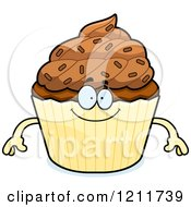 Cartoon Of A Happy Chocolate Sprinkled Cupcake Mascot Royalty Free Vector Clipart
