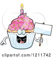 Cartoon Of A Birthday Cupcake Mascot Holding A Sign Royalty Free Vector Clipart by Cory Thoman
