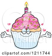 Cartoon Of A Loving Birthday Cupcake Mascot Wanting A Hug Royalty Free Vector Clipart by Cory Thoman