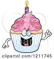 Cartoon Of A Smart Birthday Cupcake Mascot With An Idea Royalty Free Vector Clipart by Cory Thoman