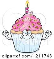 Cartoon Of A Mad Birthday Cupcake Mascot Royalty Free Vector Clipart by Cory Thoman