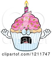 Cartoon Of A Scared Birthday Cupcake Mascot Royalty Free Vector Clipart by Cory Thoman