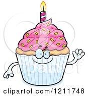 Cartoon Of A Waving Birthday Cupcake Mascot Royalty Free Vector Clipart by Cory Thoman