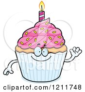 Waving Birthday Cupcake Mascot