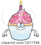 Cartoon Of A Happy Birthday Cupcake Mascot Royalty Free Vector Clipart