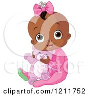 Cartoon Of A Cute African American Baby Girl Hugging A Teddy Bear Royalty Free Vector Clipart by Pushkin
