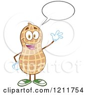 Happy Peanut Mascot Talking And Waving