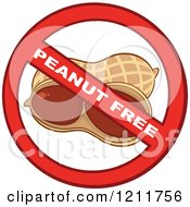 Cartoon Of A Peanut Free Allergy Symbol Royalty Free Vector Clipart