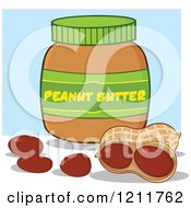 Cartoon Of A Jar Of Peanut Butter And Nuts Over Blue Royalty Free Vector Clipart