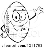 Cartoon Of An Outlined American Football Mascot Waving Royalty Free Vector Clipart