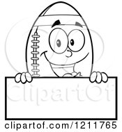 Cartoon Of An Outlined American Football Mascot Over A Sign Royalty Free Vector Clipart