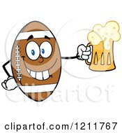 Cartoon Of A American Football Mascot Holding A Beer Royalty Free Vector Clipart