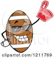 Cartoon Of An American Football Mascot Wearing Sunglasses And A Foam Finger Royalty Free Vector Clipart