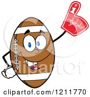 Cartoon Of An American Football Mascot Wearing A Foam Finger Royalty Free Vector Clipart
