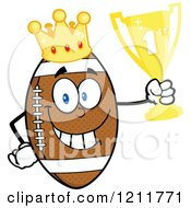 Cartoon Of A Crowned American Football Mascot Holding A Trophy Royalty Free Vector Clipart