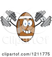 Cartoon Of An American Football Mascot Working Out With Two Dumbbells Royalty Free Vector Clipart