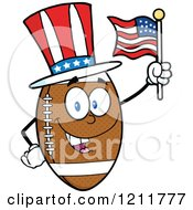 Cartoon Of An American Football Mascot Wearing A Patriotic Hat And Waving A Flag Royalty Free Vector Clipart