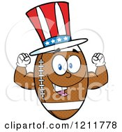 American Football Mascot Flexing Wearing A Patriotic Hat