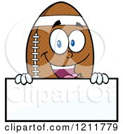 Cartoon Of An American Football Mascot Over A Sign Royalty Free Vector Clipart