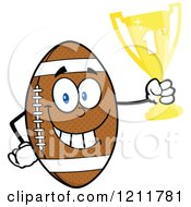 Cartoon Of An American Football Mascot Holding A First Place Trophy Royalty Free Vector Clipart