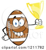 Cartoon Of An American Football Mascot Holding A Trophy Royalty Free Vector Clipart