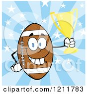 American Football Mascot Holding A Trophy Over Stars And Rays