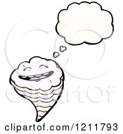 Cartoon Of A Thinking Tornado Royalty Free Vector Illustration by lineartestpilot
