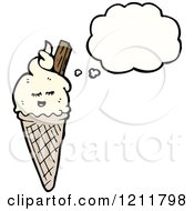 Cartoon Of An Ice Cream Cone Thinking Royalty Free Vector Illustration