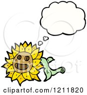 Cartoon Of A Thinking Flower Royalty Free Vector Illustration by lineartestpilot