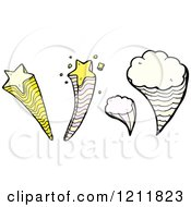 Cartoon Of Speaking Tornados And Stars Royalty Free Vector Illustration by lineartestpilot