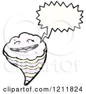 Cartoon Of A Speaking Tornado Royalty Free Vector Illustration by lineartestpilot