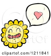 Cartoon Of A Speaking Flower Royalty Free Vector Illustration by lineartestpilot