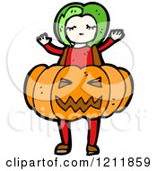 Cartoon Of A Girl In A Jack O Lantern Costume Royalty Free Vector Illustration by lineartestpilot