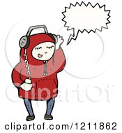 Cartoon Of A Kid Listening To Headphones Royalty Free Vector Illustration by lineartestpilot