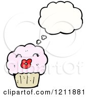 Cartoon Of A Thinking Cupcake Royalty Free Vector Illustration by lineartestpilot