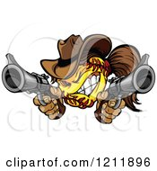 Clipart Softball Cowgirl Shooting With Two Pistols Royalty Free Vector Illustration