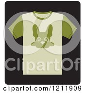 Clipart Of A Black Icon Of A T Shirt With A French Bulldog Royalty Free Vector Illustration by Lal Perera