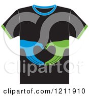 Clipart Of A Black T Shirt With Hands Royalty Free Vector Illustration