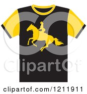 Clipart Of A Black T Shirt With A Horse Back Rider Royalty Free Vector Illustration
