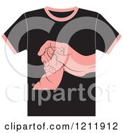 Clipart Of A Black T Shirt With Baby And Mother Hands Royalty Free Vector Illustration by Lal Perera
