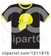 Clipart Of A Black T Shirt With A Skull Royalty Free Vector Illustration by Lal Perera