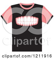 Clipart Of A Black T Shirt With Teeth Royalty Free Vector Illustration by Lal Perera