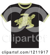 Clipart Of A Black T Shirt With A Sea Turtle Royalty Free Vector Illustration by Lal Perera