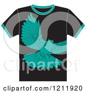 Clipart Of A Black T Shirt With A Dove Royalty Free Vector Illustration by Lal Perera