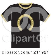 Clipart Of A Black T Shirt With A Horseshoe Royalty Free Vector Illustration by Lal Perera