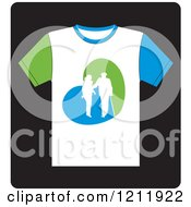 Clipart Of A White T Shirt With A Helping Woman And Senior Royalty Free Vector Illustration by Lal Perera