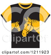 Clipart Of A Black T Shirt With Horses Royalty Free Vector Illustration by Lal Perera
