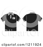 Clipart Of A Black T Shirt With An Id Badge Shown Front And Back Royalty Free Vector Illustration by Lal Perera